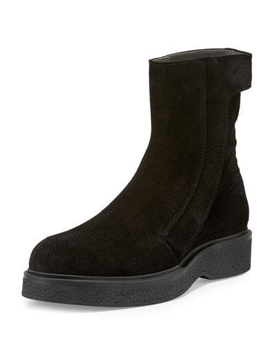 Suede Grip-Strap Chelsea Boot, Black