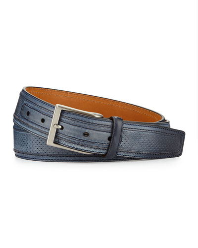 Perforated Leather Belt, Blue