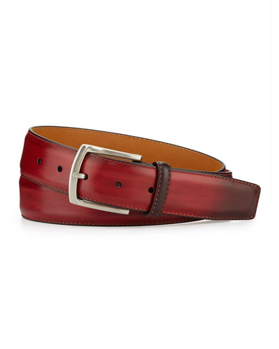 Smooth Leather Belt, Red