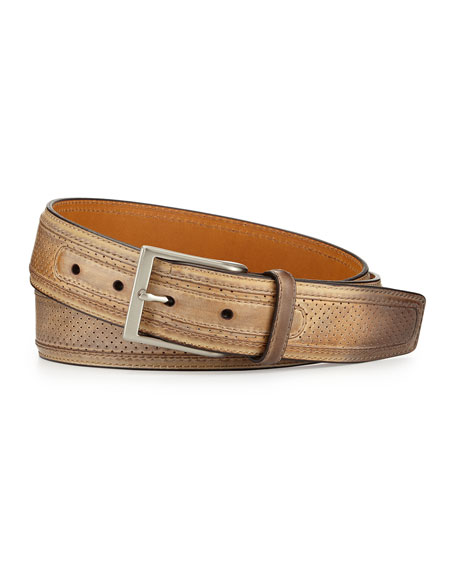 Neiman Marcus Perforated Leather Belt, Castoro