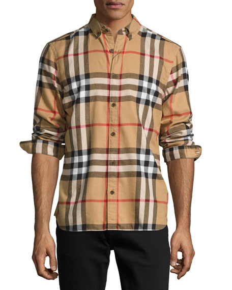 Burberry check cotton flannel shirt camel neiman marcus for Where are burberry shirts made
