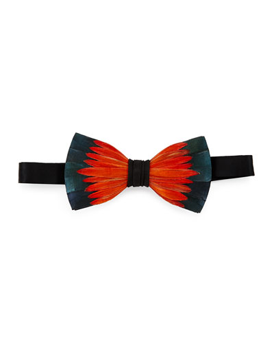 Lotus Pheasant-Feather Bow Tie, Orange