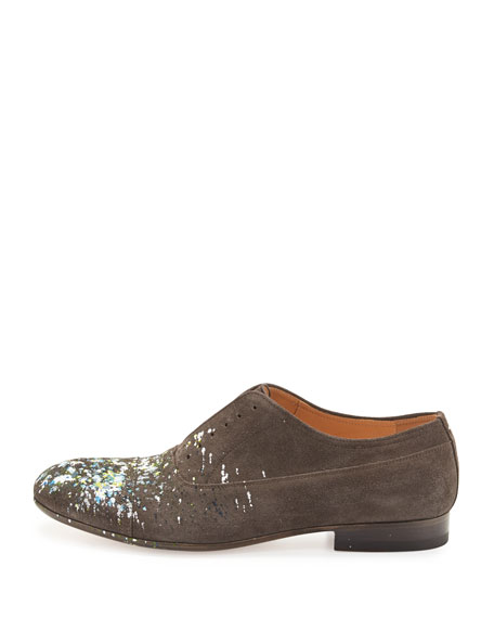 Paint-Splatter Laceless Oxford Shoe, Charcoal