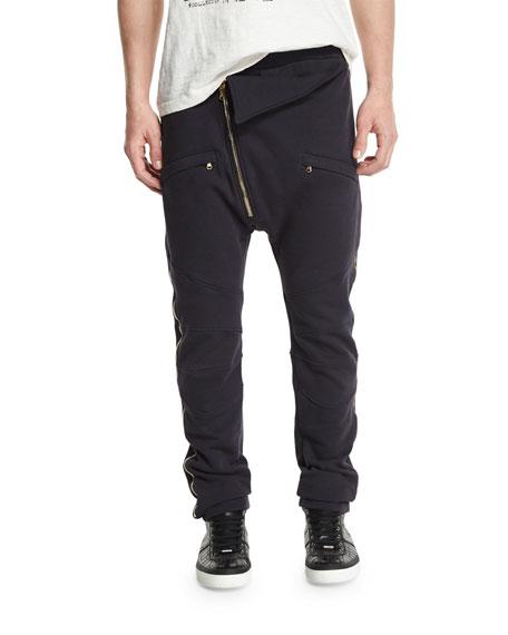 Pierre Balmain Asymmetric Zip-Front Sweatpants, Navy