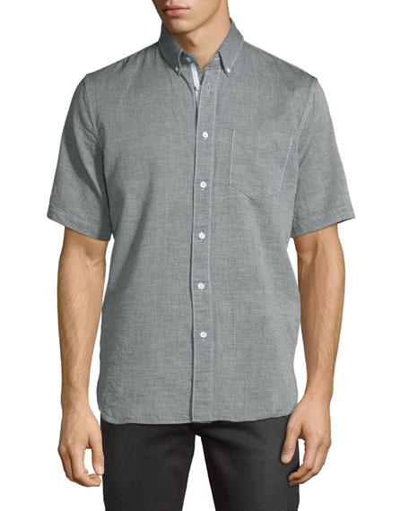 Short-Sleeve Oxford Shirt, Gray