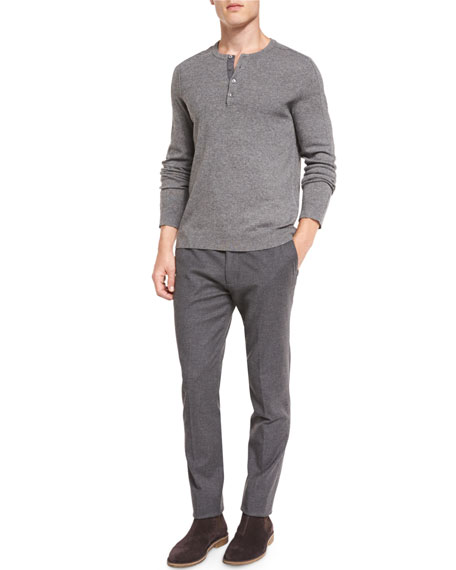 Slim-Fit Flannel Trousers, Dark Grey