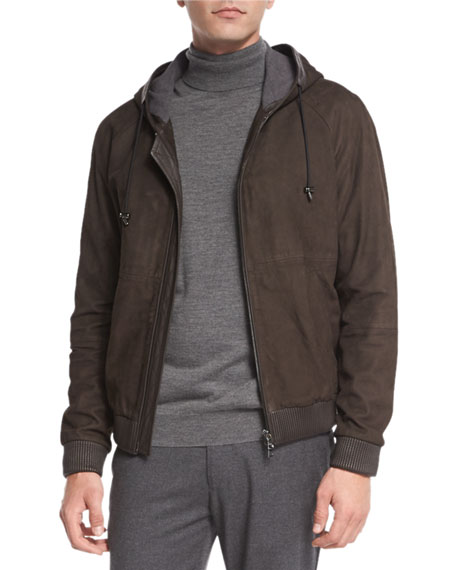 Vince Leather Zip-Up Hoodie, Espresso Brown