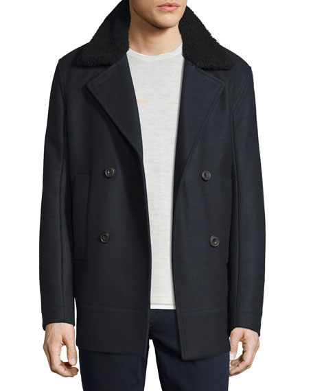 Vince Melton Wool-Blend Pea Coat w/Shearling Collar, Navy