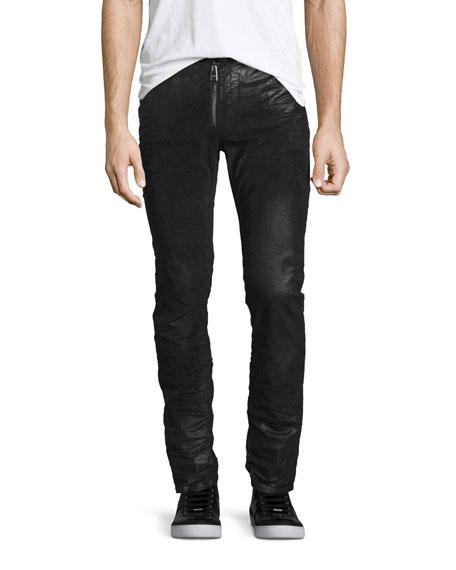 Just Cavalli Coated Zip-Front Corduroy Pants, Black