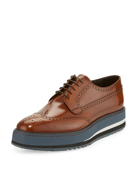 Prada Men's Spazzolato Creeper Brogue Platform Shoe, Light