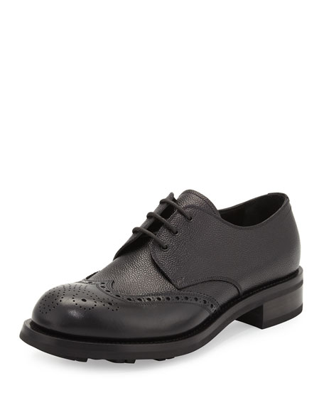 Prada Spazzolato Wing-Tip Leather Lace-Up, Black