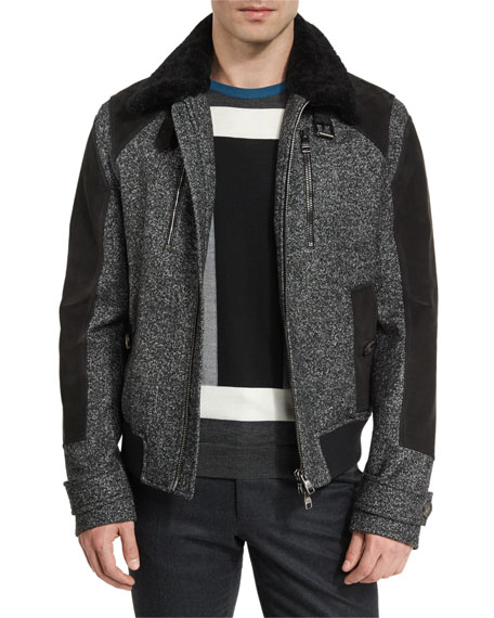 Salvatore Ferragamo Tweed & Leather Bomber Jacket w/Shearling