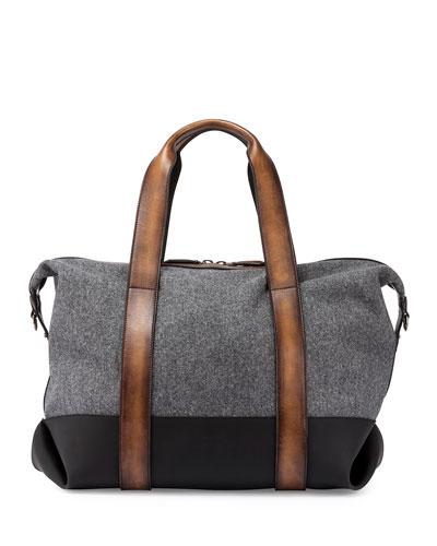 Weekend Flannel & Leather Travel Bag, Grigio