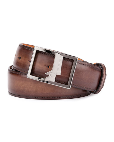 Venezia Leather Boot-Buckle Belt, Brown