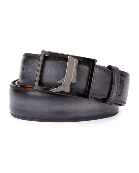 Berluti Venezia Leather Boot-Buckle Belt, Black