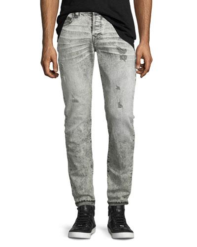 Rocco Distressed Slim-Fit Jeans, Worn Raven