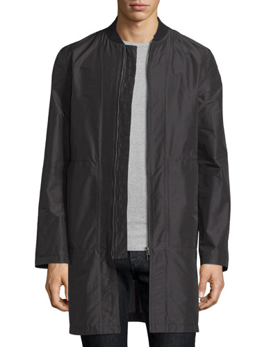 Zip-Front Long Bomber Jacket, Black