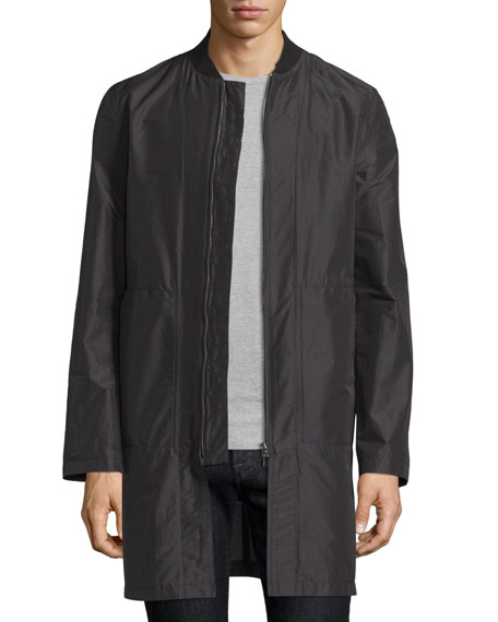 Helmut Lang Zip-Front Long Bomber Jacket, Black