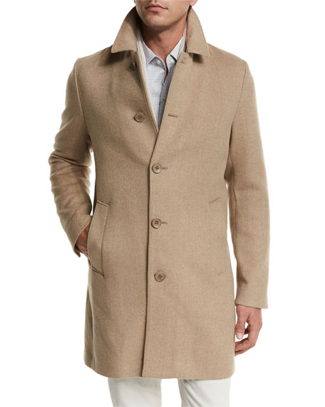 Loro Piana Dweller Wool-Cashmere Single-Breasted Coat, Desert