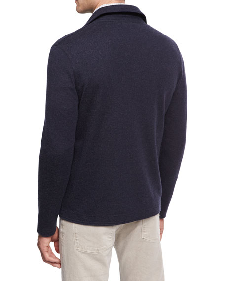 Cashmere-Blend Zip-Front Shirt-Sweater, Navy Blue/Plaster