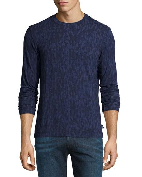 Jacquard Diamond-Print Long-Sleeve Shirt, Blue