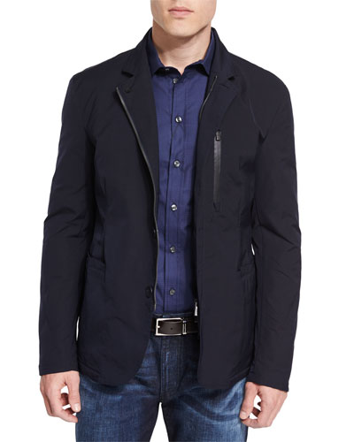 Lightweight Water-Resistant Zip Jacket, Navy