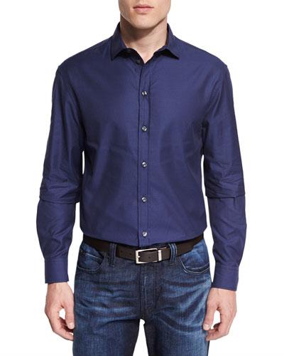 Tonal Micro-Gingham Printed Sport Shirt, Blue