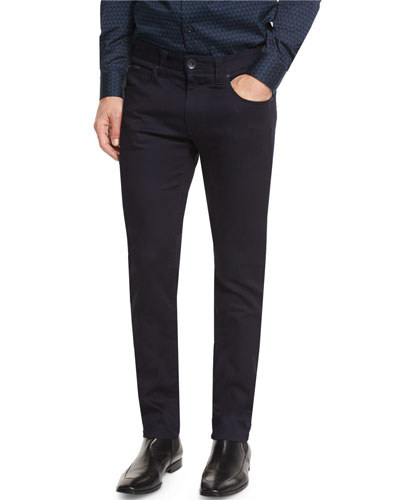 Dark Wash Five-Pocket Straight-Leg Jeans, Green