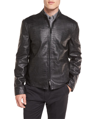 Crocodile-Embossed Leather Bomber Jacket, Black