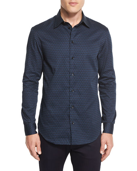 Armani Collezioni Triangle-Print Woven Sport Shirt, Teal/Black