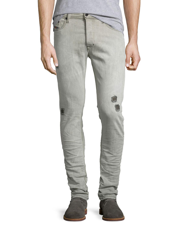 5d84f5160af Diesel Tepphar 676M Distressed Jeans, Light Gray | Neiman Marcus