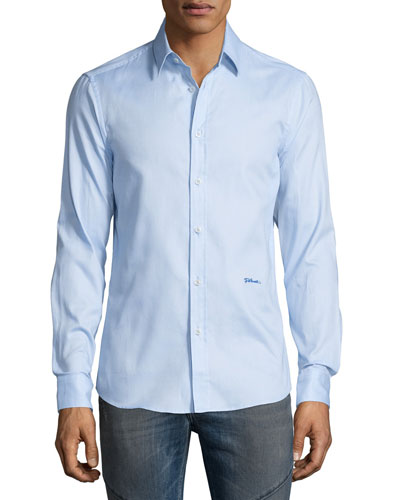 Button-Front Dress Shirt, Light Blue