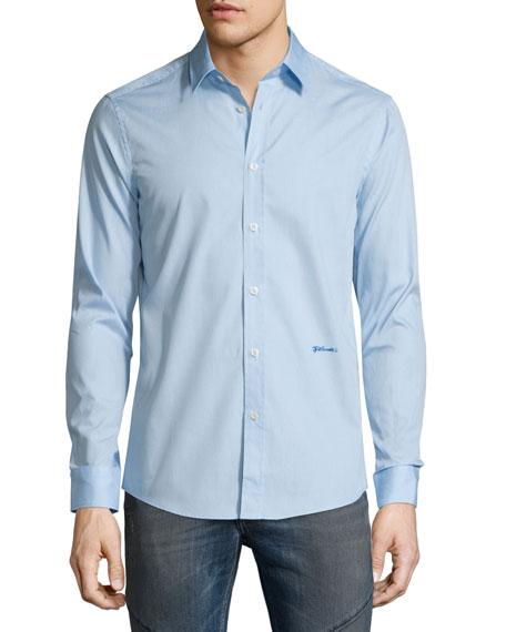Just Cavalli Solid Long-Sleeve Woven Dress Shirt, Light