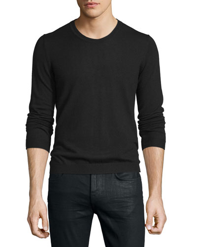 Long-Sleeve Crewneck Wool Sweater, Black