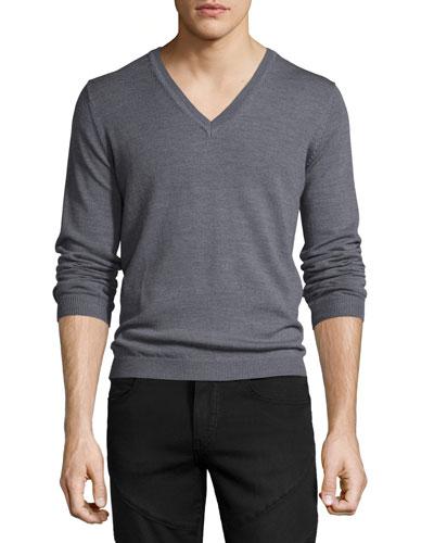 Long-Sleeve V-Neck Wool Sweater, Gray