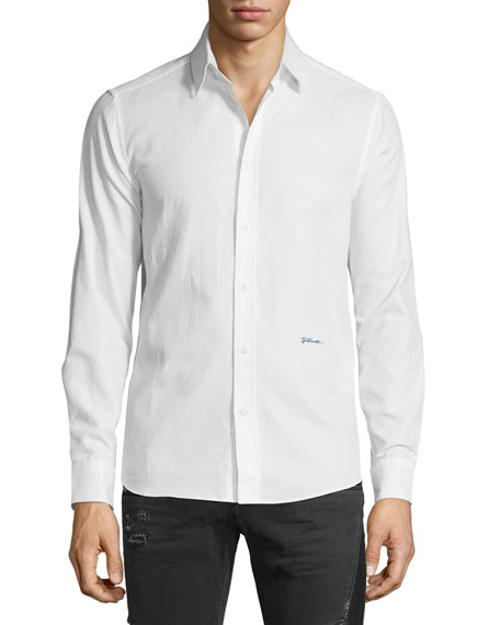 Just Cavalli Solid Long-Sleeve Sport Shirt, White