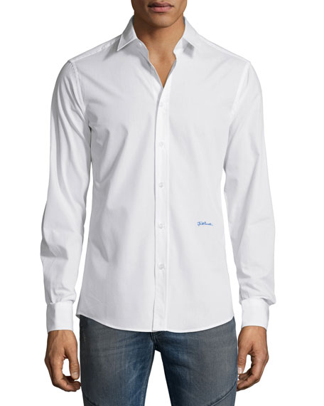 Just Cavalli Long-Sleeve Woven Sport Shirt, White