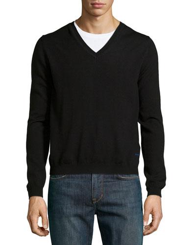 Long-Sleeve V-Neck Wool Sweater, Black