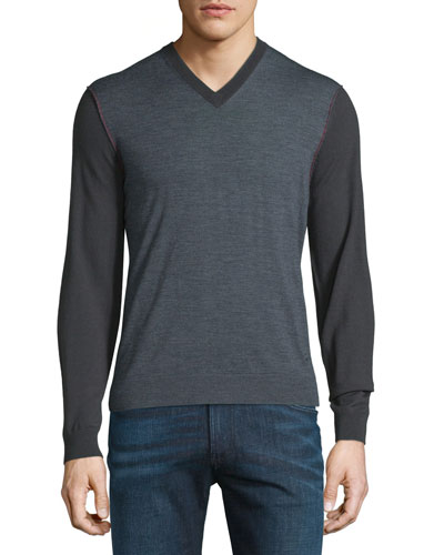 Colorblock Wool V-Neck Sweater w/Red Stitching, Gray