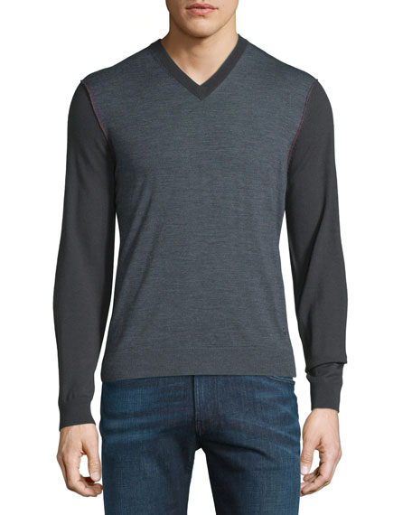 Armani Collezioni Colorblock Wool V-Neck Sweater w/Red Stitching,