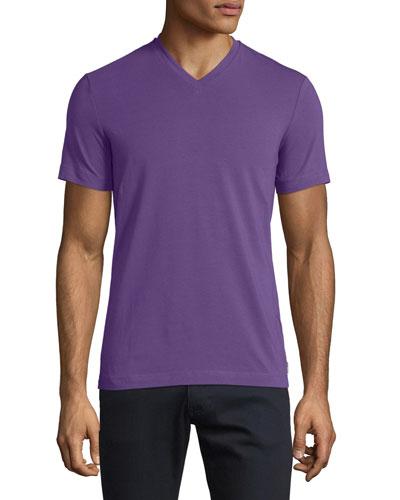 Short-Sleeve V-Neck T-Shirt, Purple