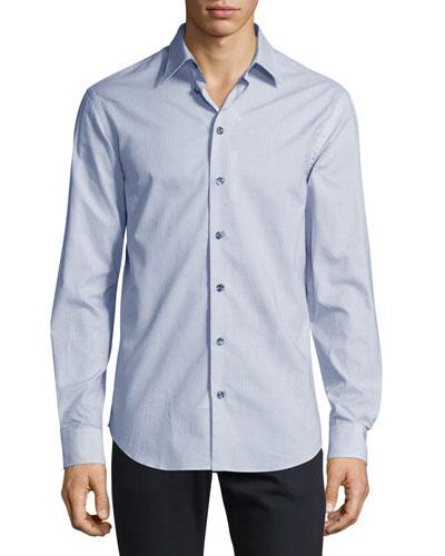 Micro-Print Woven Sport Shirt, Blue/White