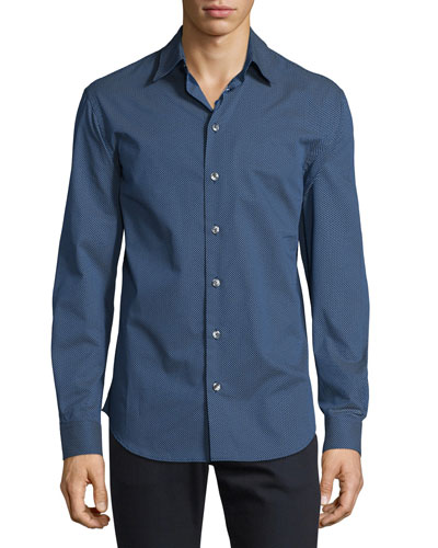 Micro Tick-Print Woven Sport Shirt, Navy/White
