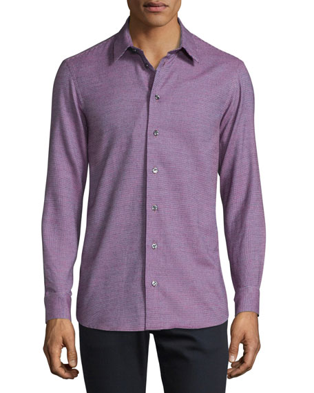 Armani Collezioni Neat Mini-Check Woven Sport Shirt, Berry/Blue