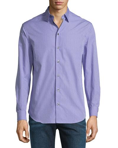Micro-Check Long-Sleeve Sport Shirt, Purple