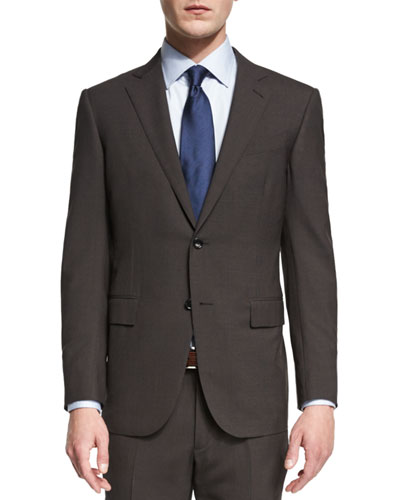 Micro-Check Two-Piece Wool Suit, Brown