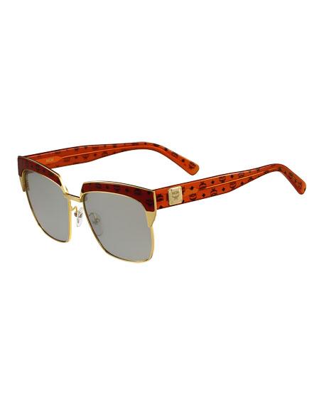 Half-Rimmed Visetos Square Sunglasses