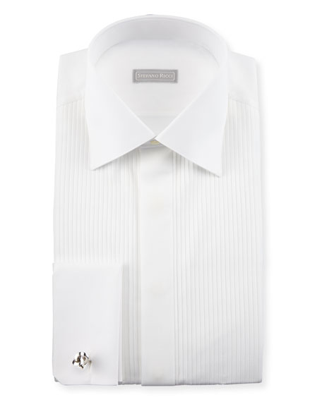 Stefano Ricci Basic Pleated French-Cuff Tuxedo Shirt, White