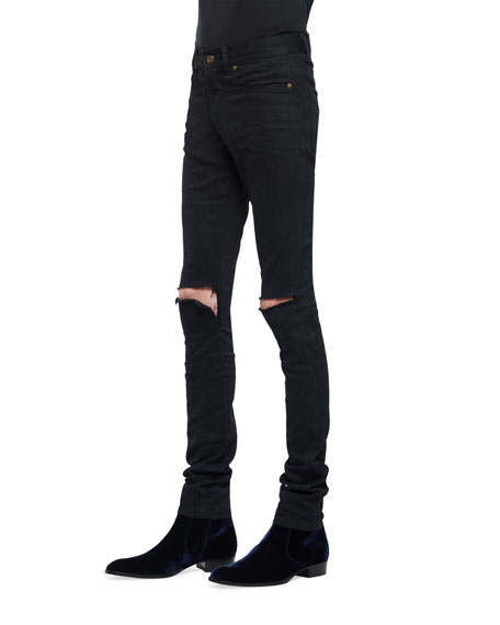 Slashed-Knee Skinny-Fit Stretch-Denim Jeans, Black