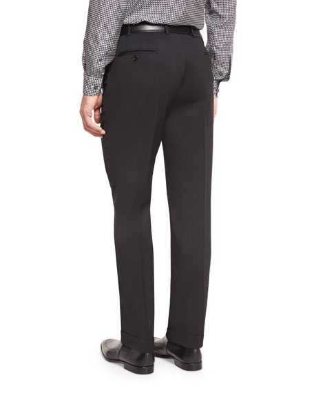 Stretch-Cotton Flat-Front Trousers, Black